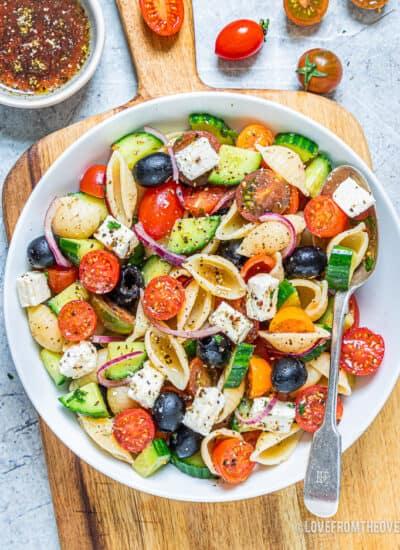 A bowl of Greek pasta salad.