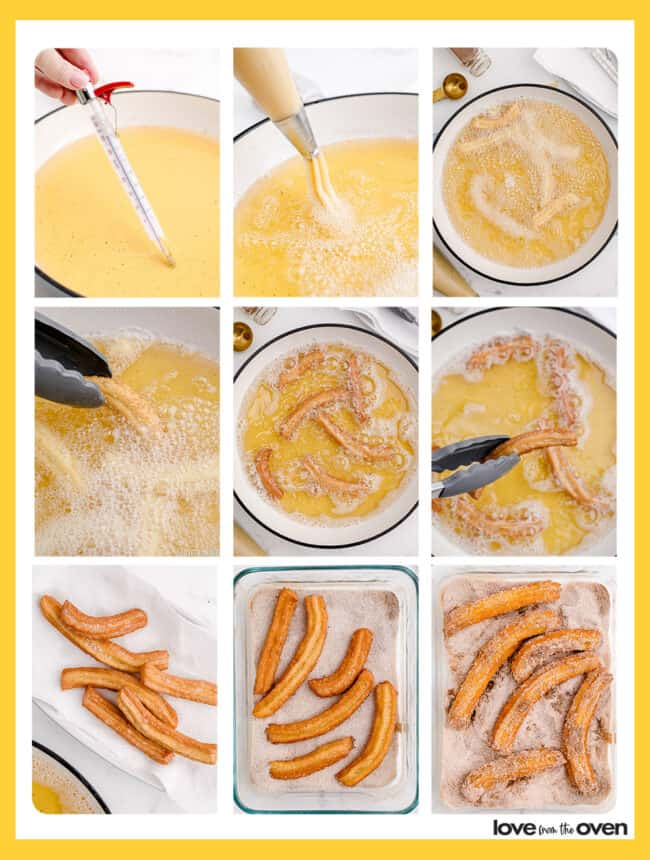 Step by step photos showing how to make churros.
