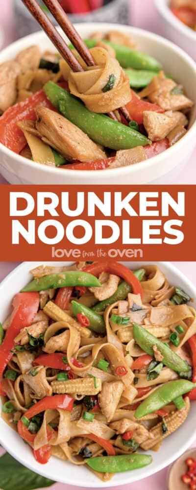 Photos of bowls of Thai drunken noodles.