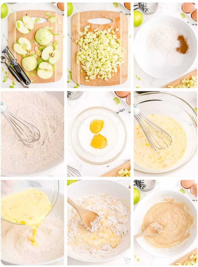 Step by step photos showing how to make apple fritters.