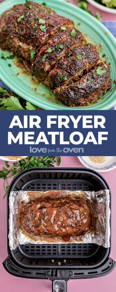 A plate with a meatloaf and a meatloaf in an air fryer.