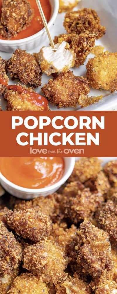 Photos of popcorn chicken nuggets