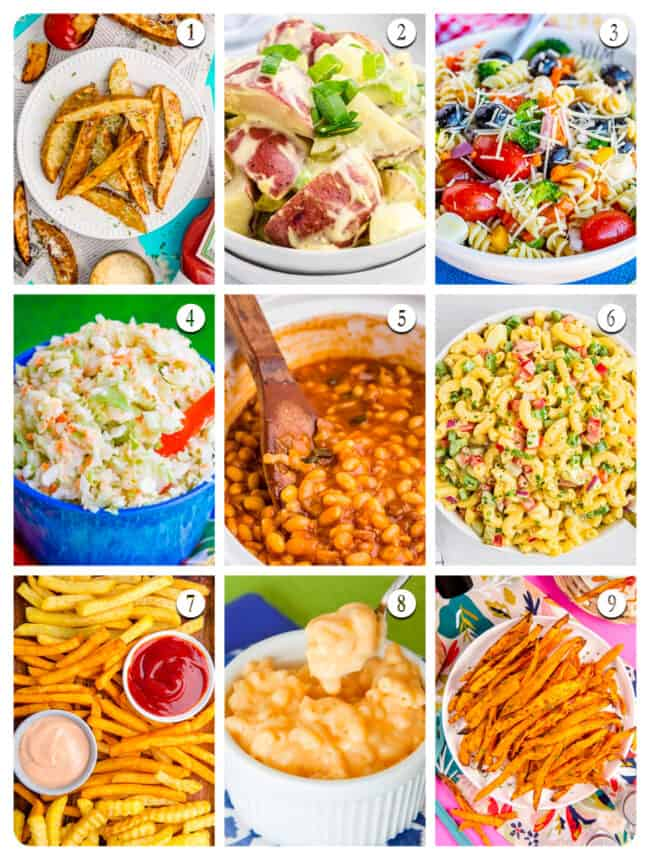 Photos of a variety of side dishes.