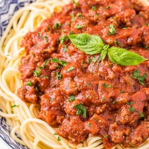 A plate of spaghetti.