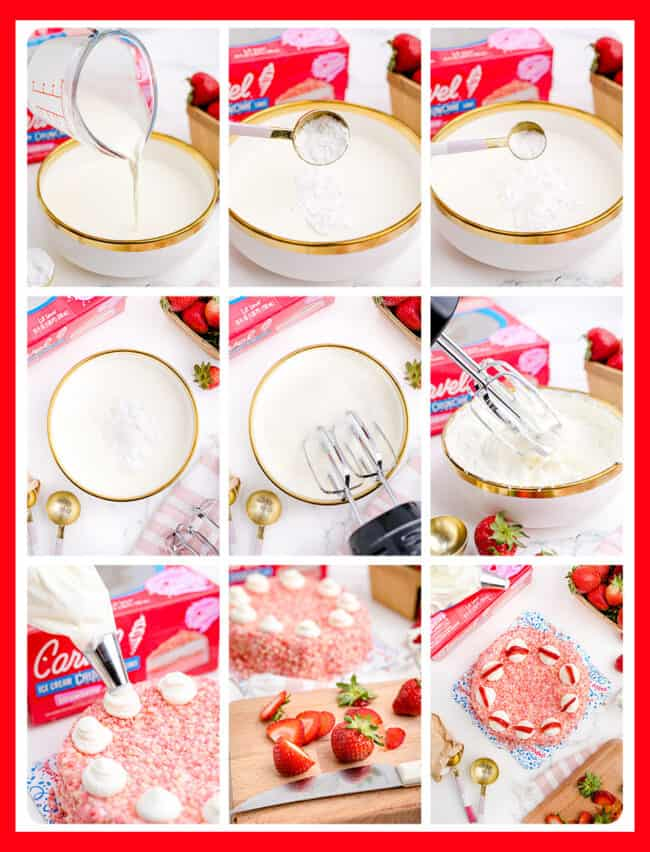 photos showing how to make a strawberry ice cream cake.