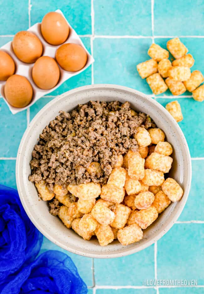 ingredients for a tater tot and sausage casserole