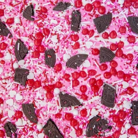 Red pink and white valentine candy bark.