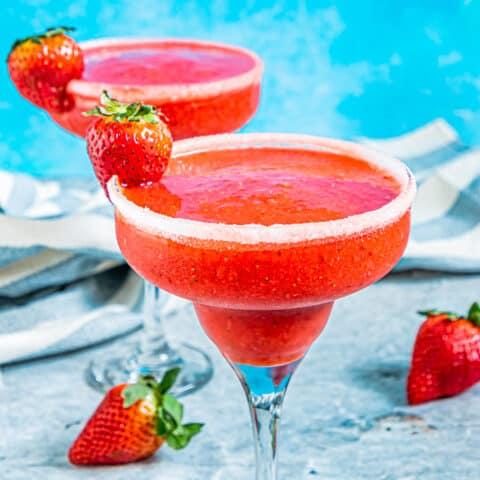 A glass of strawberry daiquiri