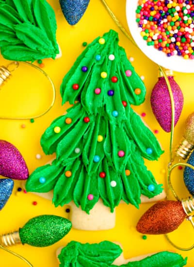 a close up photo of a Christmas tree sugar cookie.