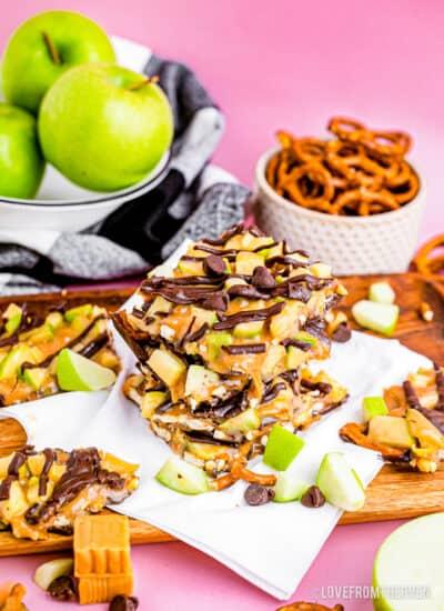 A stack of caramel apple chocolate bark.