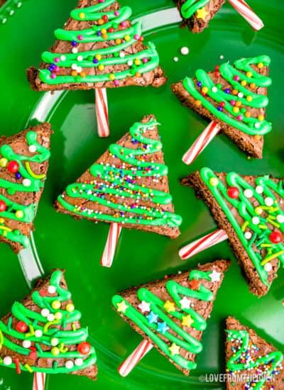 A plate of Christmas Tree Brownies