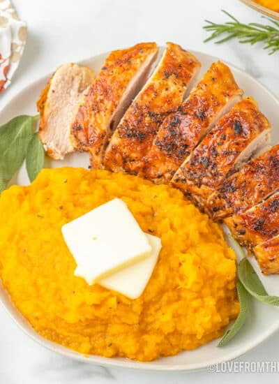 A plate of mashed butternut squash and turkey.
