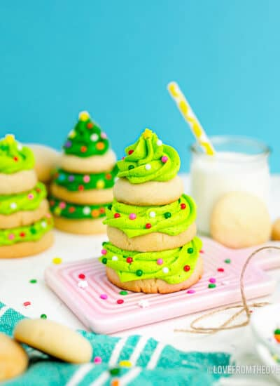 A stacked christmas tree cookie.